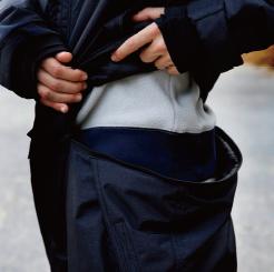 防水防寒ツナギ GE-207 の腰割れファスナーの写真