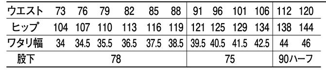 エコ5バリューツータックカーゴパンツ /43802のサイズ表