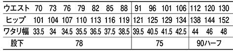 ツータックカーゴパンツ /80502のサイズ表