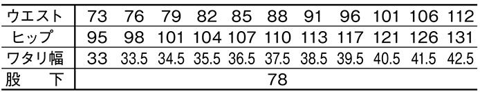 JAWINカーゴパンツ /52402のサイズ表
