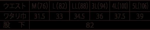 寅壱 蛇腹カーゴパンツ/3930-219のサイズ表
