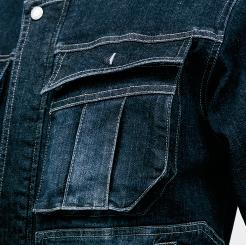 寅壱 デニム蛇腹ライダースジャケット 8930-554 の大容量胸ポケットの写真