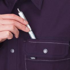 寅壱 長袖シャツ 3940-125 の左胸ペン差し付の写真