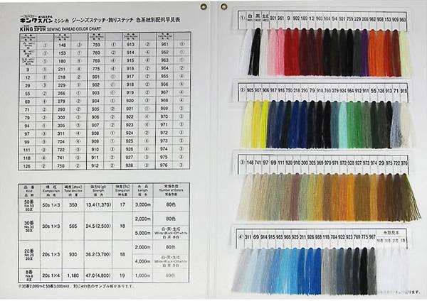 キングスパン(ジーンズ・飾りステッチ用)カラーサンプル帳