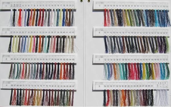 タイヤー絹ミシン糸カラーサンプル帳