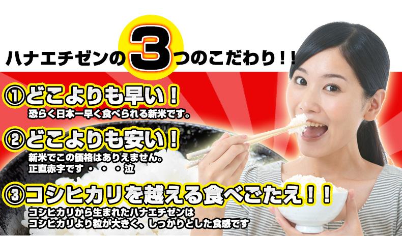 ハナエチゼンの3つのこだわり!!1 どこよりも早い!恐らく日本一早く食べられる新米です。2 どこよりも安い!新米でこの価格はありえません。正直赤字です・・・泣3コシヒカリを越える食べごたえ!!コシヒカリから生まれたハナエチゼンはコシヒカリより粒が大きく、しっかりとした食感です