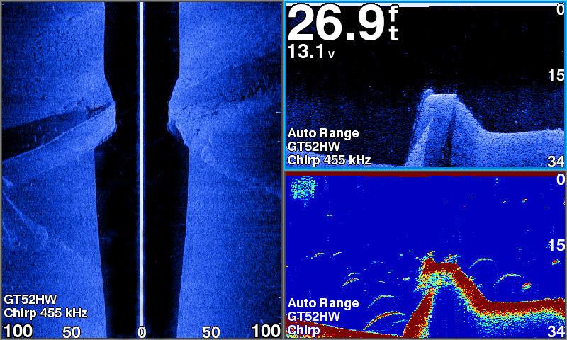 STRIKER ソナーログ サイドビュー/クリアビュー/通常魚探の画面3分割