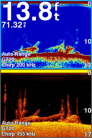 STRIKER ソナーログ ダウンビュー/通常魚探の画面2分割(上下)