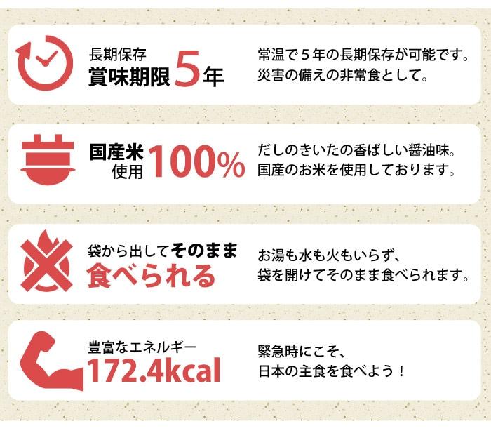 長期保存賞味期限5年、国産米100%使用、袋から出してそのまま