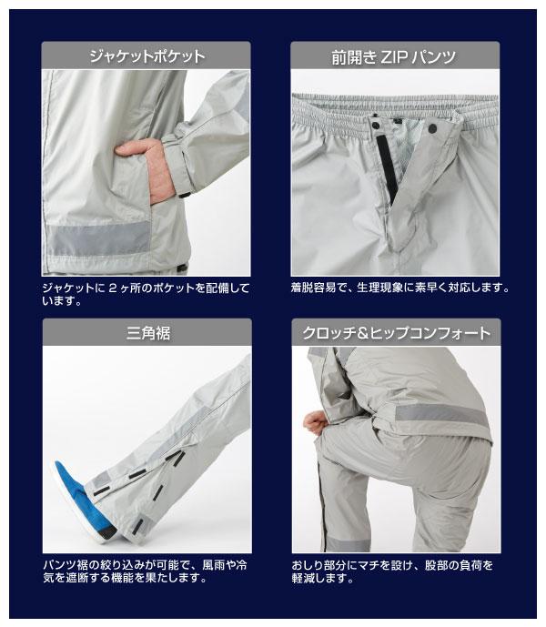 機能特徴続き(ジャケットポケット、前開きZIPパンツ、三角裾、クロッチ&ヒップコンフォート)