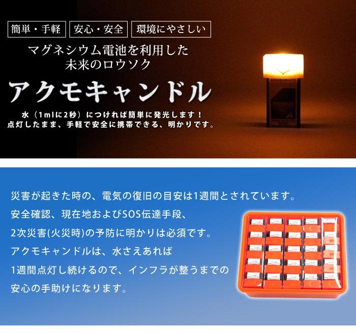 簡単・手軽、安心・安全、環境にやさしい マグネシウム電池を利用した未来のロウソク アクモキャンドル