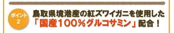 [ポイント2]鳥取県境港産の紅ズワイガニを使用した「国産100%グルコサミン」配合!