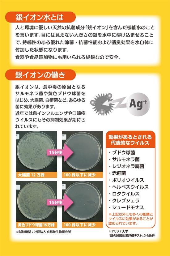 銀イオン水とは。人と環境に優しい天然の抗菌成分「銀イオン」を含んだ機能水のことを言います。目には見えない大きさの銀を水中に溶け込ませることで、持続性のある優れた除菌・抗菌性能および消臭効果を水自体に付加した状態になります。食器や食品添加物にも用いられる純銀なので安全。銀イオンは食中毒の原因となるサルモネラ菌や黄色ブドウ球菌をはじめ、大腸菌、白癬菌など、あらゆる菌に効果があります。近年では鳥インフルエンザや口蹄疫ウイルスにもその抑制効果が期待されています。