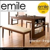 北欧デザイン 収納シェルフ付 伸縮 ダイニングテーブル 3点セット