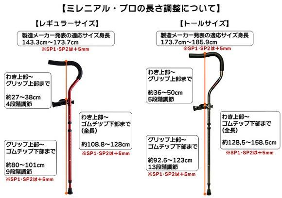 折りたたみ松葉杖 ミレニアル・プロSP2(スペシャル2)の長さ調節について