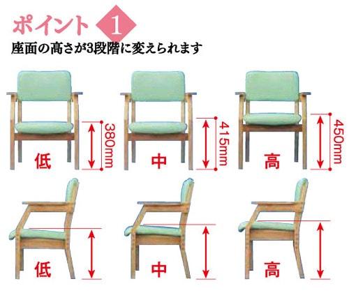 スマイルチェア2は座面の高さが3段階に変えられます。