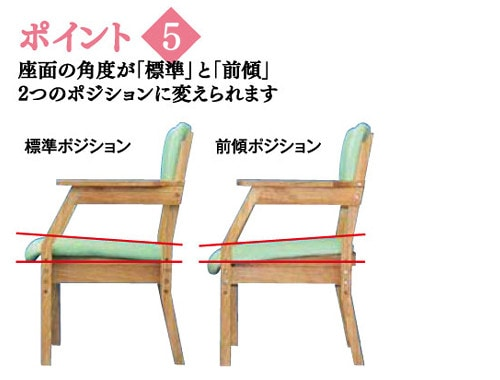 スマイルチェア2は座面の角度が「標準」と「前傾」2つのポジションに変えられます。