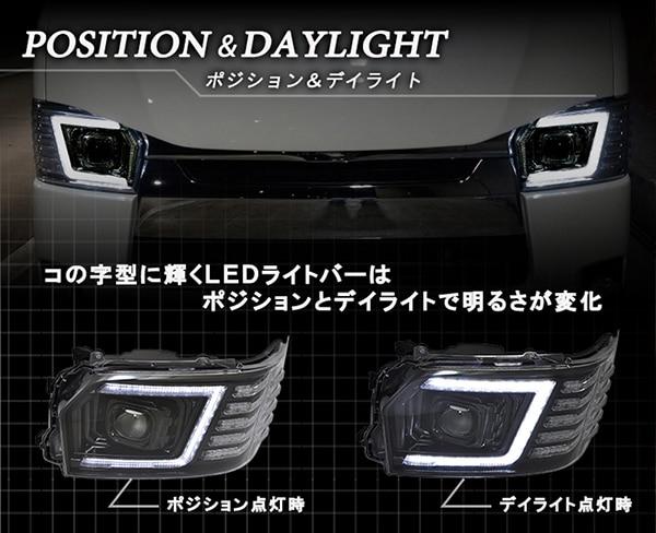 200系ハイエース 4型/5型 フルLEDヘッドライトV3 純白に輝くコの字型にレイアウトされたデイライト機能兼用のLEDライトバーポジションランプ