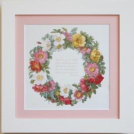 ルドゥーテ 薔薇の絵 幸せのリース バラのリース 白額 ホワイトフレーム