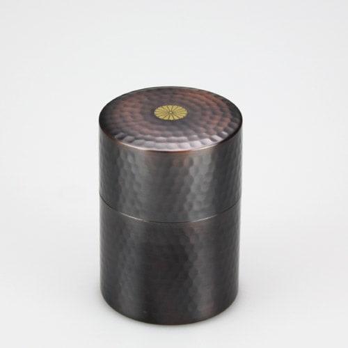 叙勲褒章の返礼品 銅製茶筒 槌目