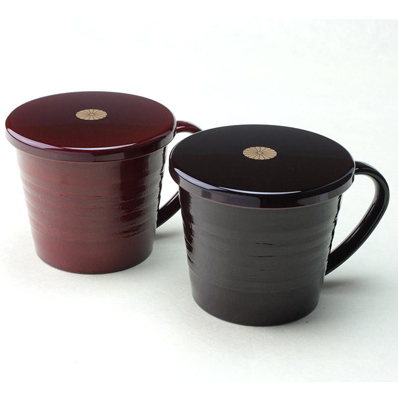 叙勲褒章の返礼品 マグカップ蓋付 溜・春慶ペアー