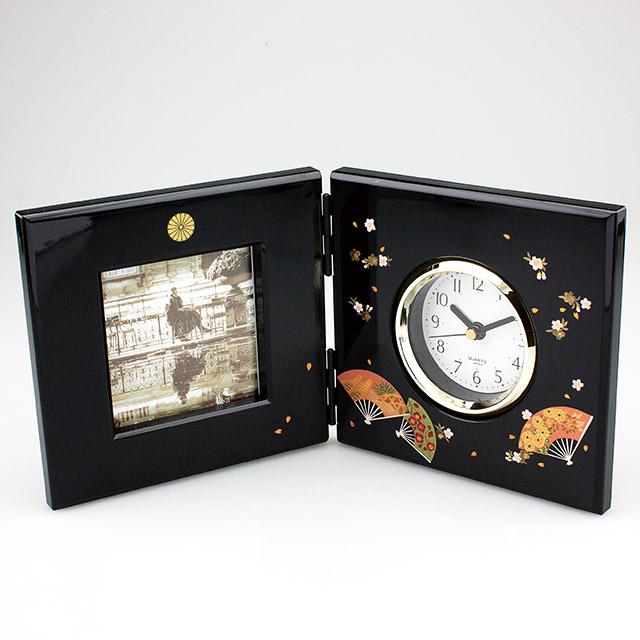 叙勲の返礼品 漆芸時計付ピクチャー 瑞扇
