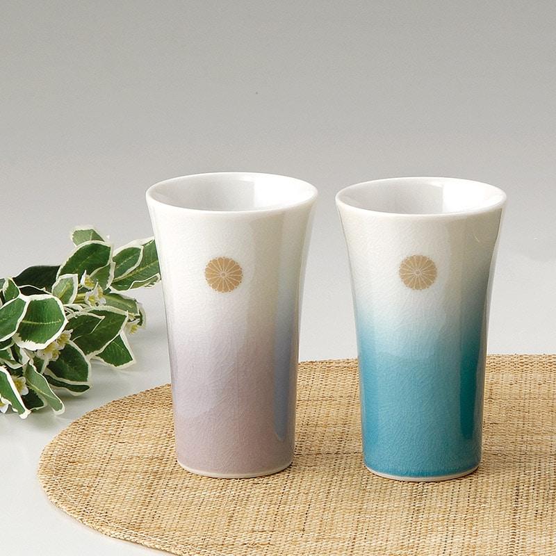 叙勲の返礼品 九谷焼 ペアフリーカップ釉彩