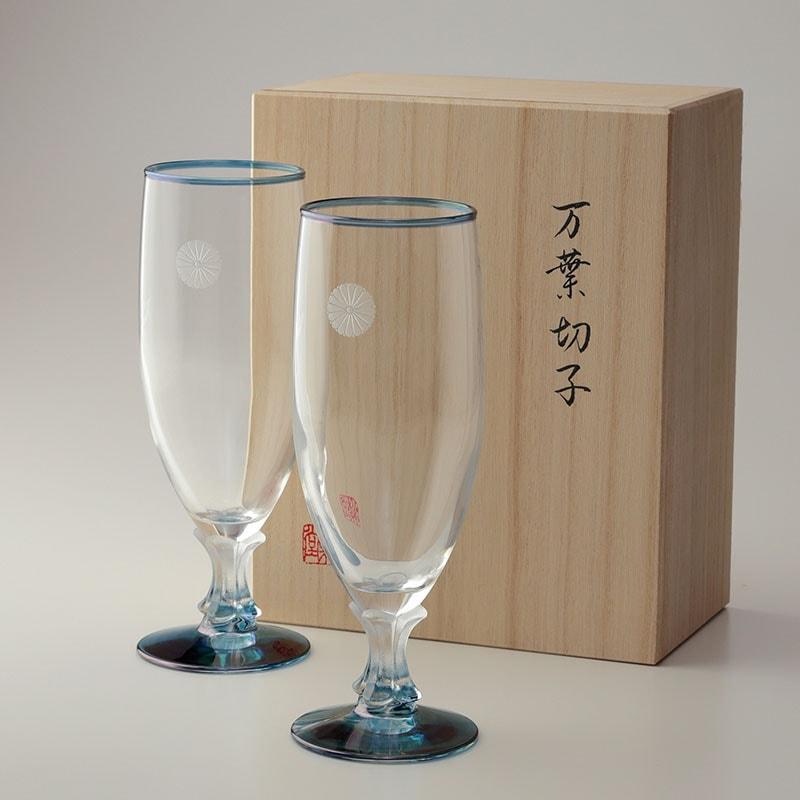 叙勲褒章の返礼品 万葉切子ビアーグラス2個入