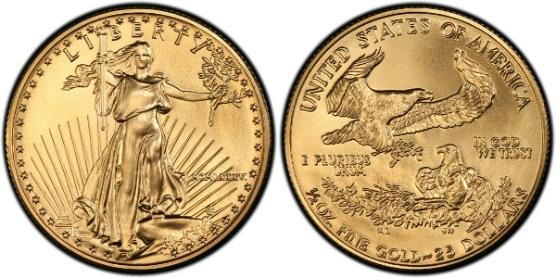 1986-2013年 1/2 oz 25ドルイー...