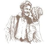 頬にキスされ微笑む男性とキスする女性のイラスト