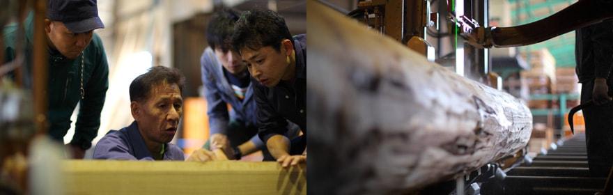 職人が中心をうまく割ることで、時間が経ってもゆがみにくい木材に
