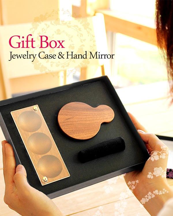 母の日や結婚記念日に。木製ジュエリーボックスと手鏡のギフトセット