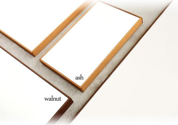 タモとウォールナットを使った木製ミラー