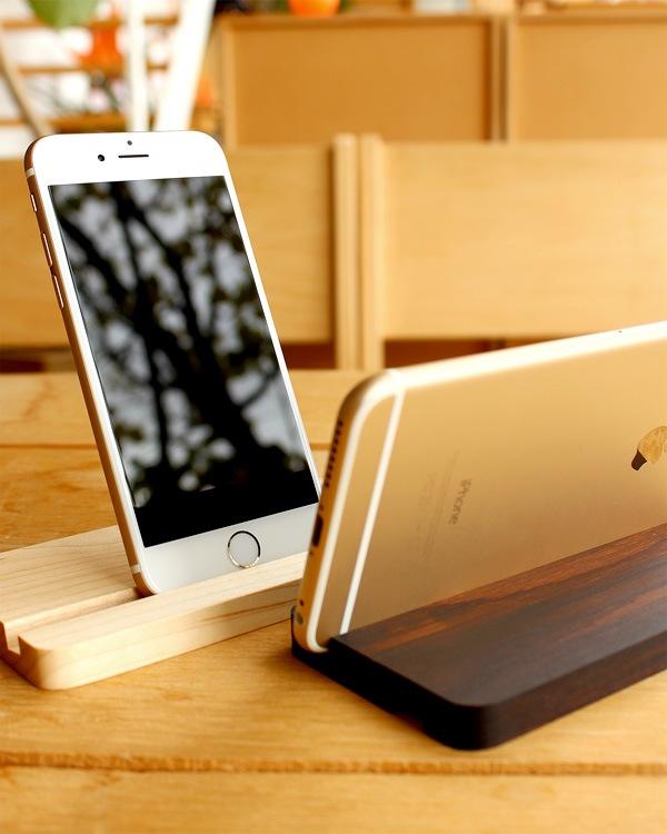 iPhone6/6Plus専用木製スタンド、Hacoaの木製iPhoneケースにも対応