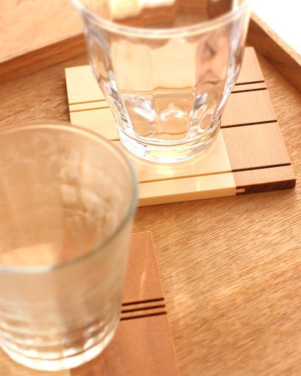 グラスがくっつかないおしゃれな木製コースター