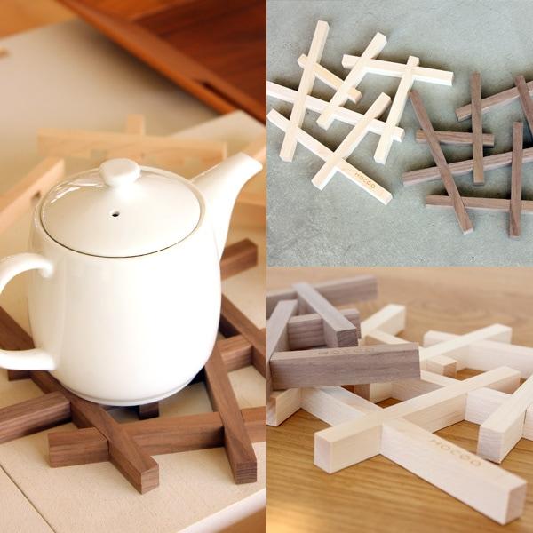 デザインの木製鍋敷き