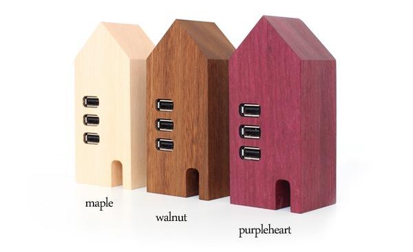 北欧の家のようなかわいい木製USBハブ