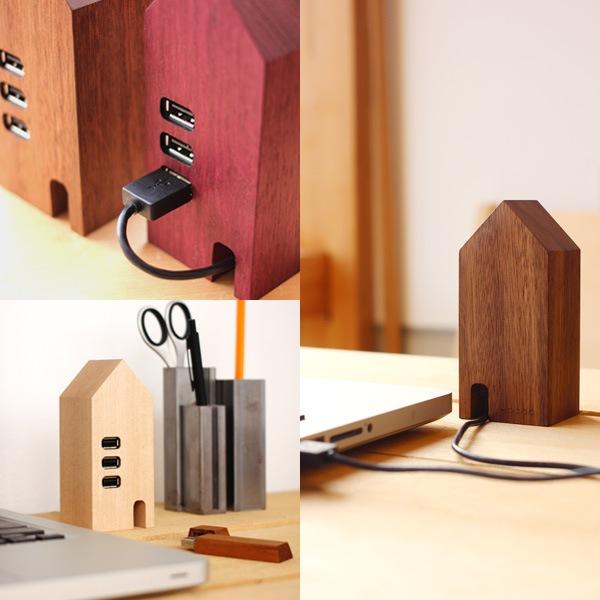 3ポートの窓を持つ木製USBハブ