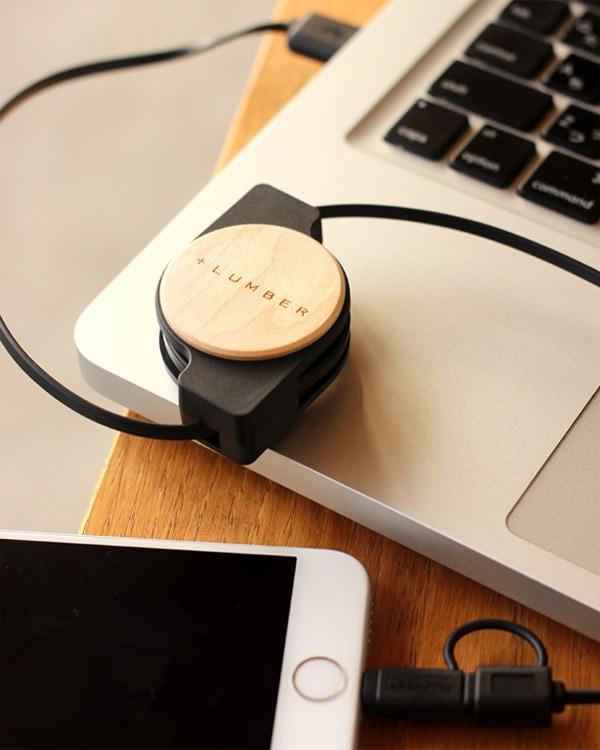 micro USB・Lightning両対応の巻き取り式USB リトラクタブルケーブル