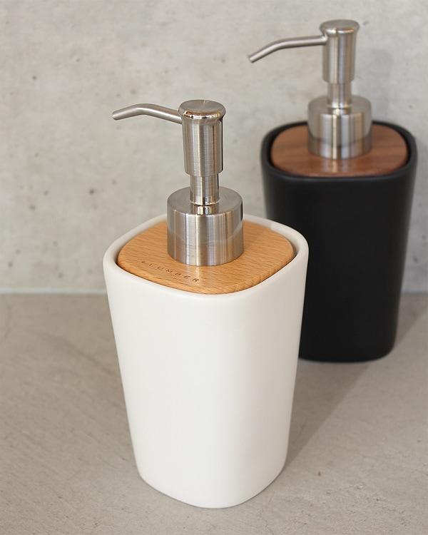 木と陶器を組み合せたソープディスペンサー「SOAP DISPENSER」