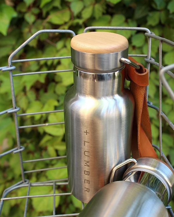 ステンレス素材に銘木をプラスした サーモボトル(水筒・タンブラー)