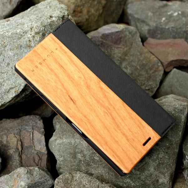 手帳型の木製スマートフォンケースXperia XZ専用フリップケースもご用意しました。