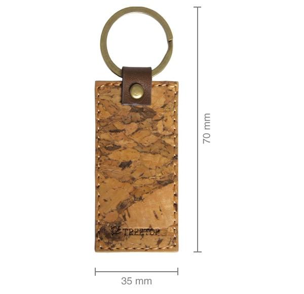 コルクレザーを使用したタグ型のかわいいキーホルダー