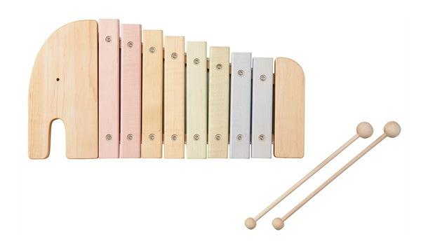 かわいらしいゾウの形をした木製シロフォン・木琴