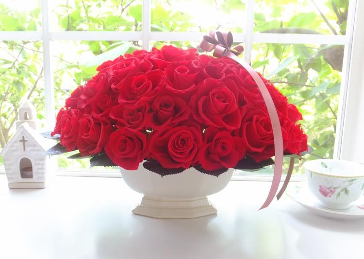 オーダーメイド プリザーブドフラワーローズ 60本赤バラ還暦祝い