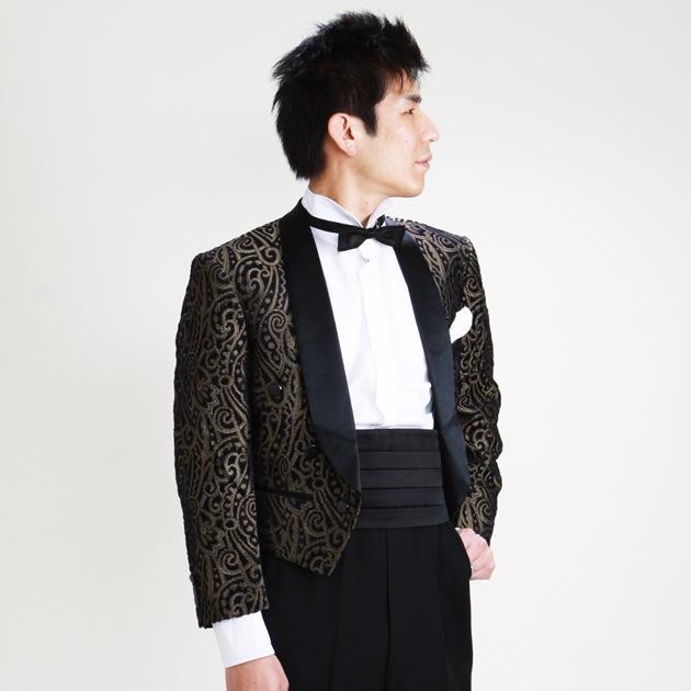 タキシード レンタル 黒・ゴールド ペイズリー半身身画像