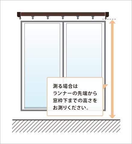 測る場合はランナーの先端から窓枠下までの高さをお測りください。