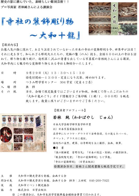 寺社の装飾彫り物 大和十龍 ちらし