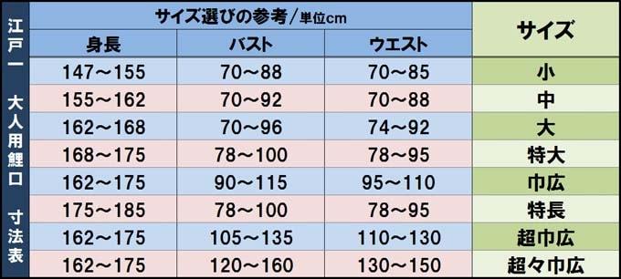江戸一鯉口シャツ サイズ表