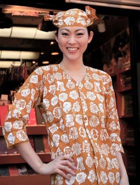 オリジナル鯉口シャツ【特岡】纒づくし:金茶
